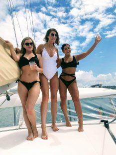 Three girls having fun in the boat